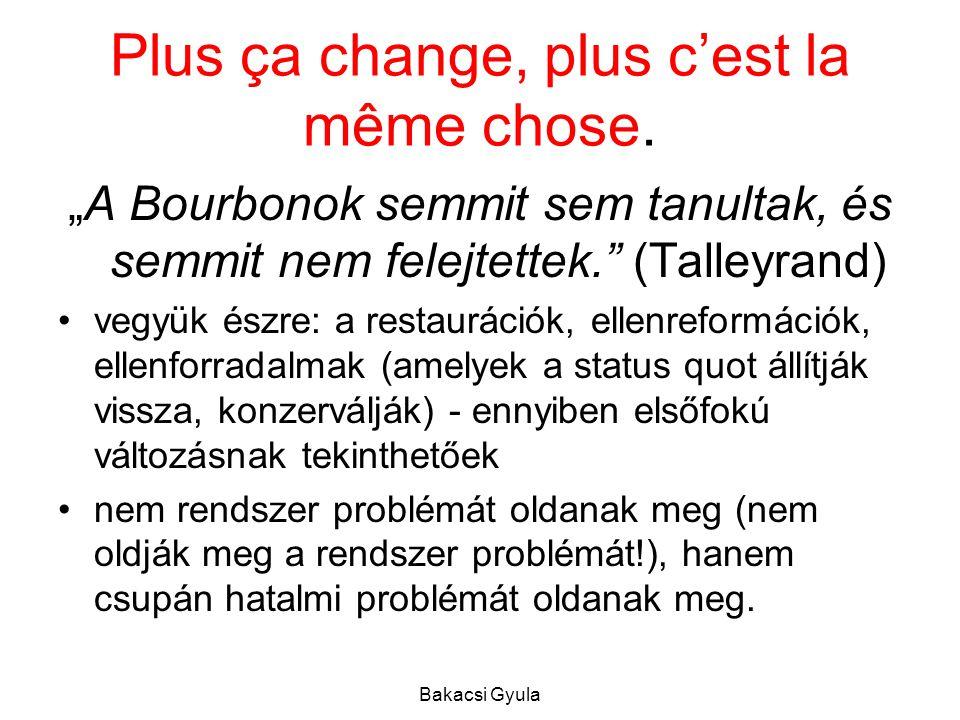 Bakacsi Gyula Plus ça change, plus c'est la même chose.