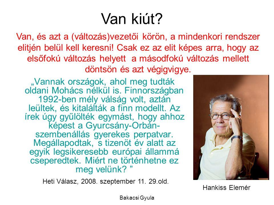 """Bakacsi Gyula Hankiss Elemér """"Vannak országok, ahol meg tudták oldani Mohács nélkül is."""