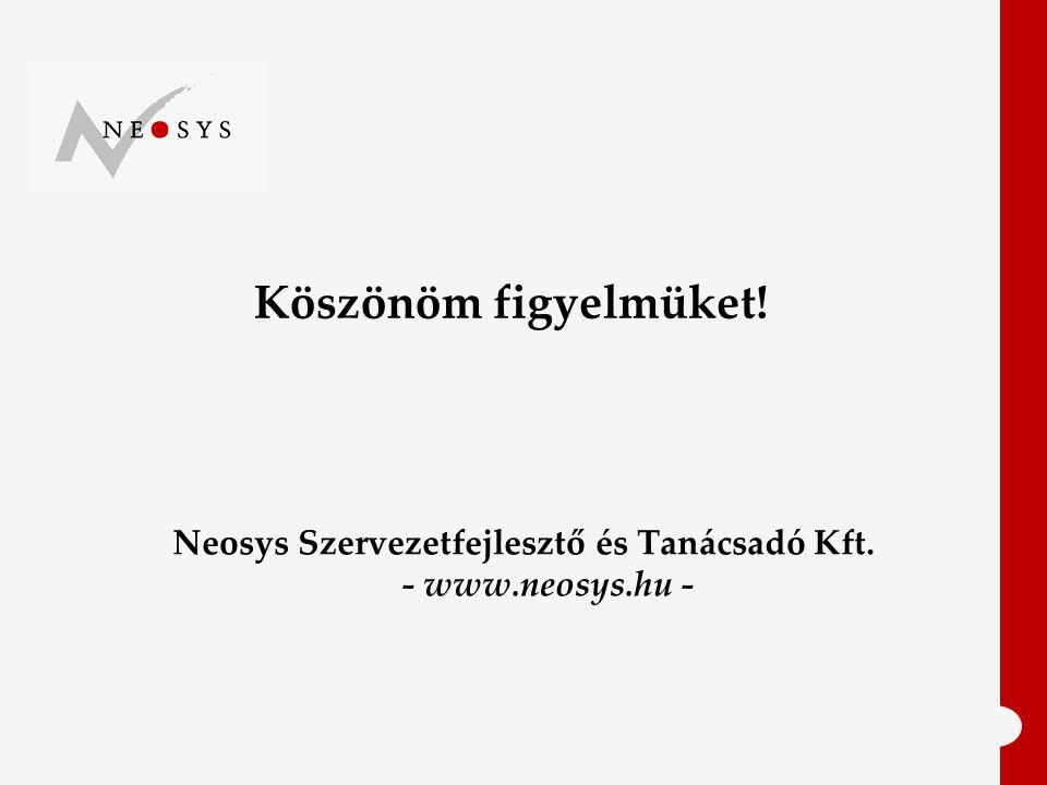 Neosys Szervezetfejlesztő és Tanácsadó Kft. - www.neosys.hu - Köszönöm figyelmüket!