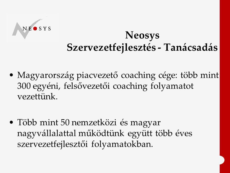Neosys Szervezetfejlesztés - Tanácsadás Magyarország piacvezető coaching cége: több mint 300 egyéni, felsővezetői coaching folyamatot vezettünk.