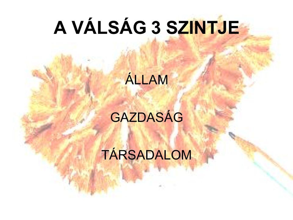 A VÁLSÁG 3 SZINTJE ÁLLAM GAZDASÁG TÁRSADALOM