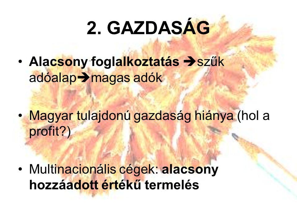 2. GAZDASÁG Alacsony foglalkoztatás  szűk adóalap  magas adók Magyar tulajdonú gazdaság hiánya (hol a profit?) Multinacionális cégek: alacsony hozzá