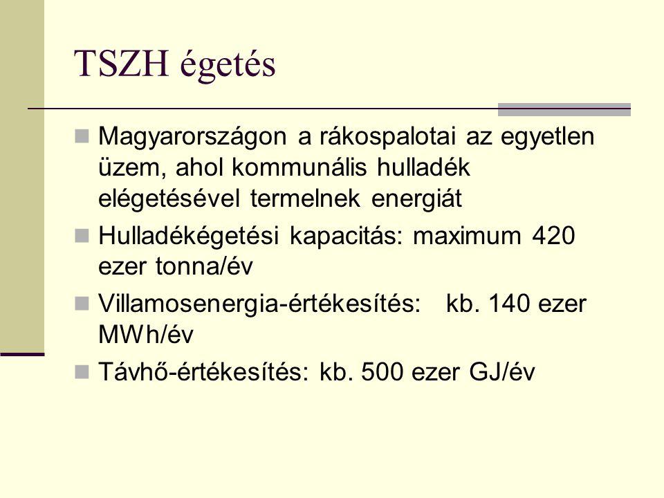 TSZH égetés Magyarországon a rákospalotai az egyetlen üzem, ahol kommunális hulladék elégetésével termelnek energiát Hulladékégetési kapacitás: maximum 420 ezer tonna/év Villamosenergia-értékesítés: kb.