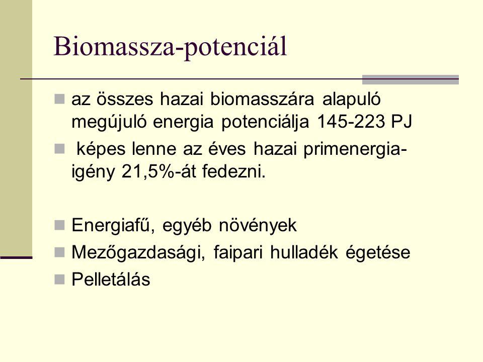 Biomassza-potenciál az összes hazai biomasszára alapuló megújuló energia potenciálja 145-223 PJ képes lenne az éves hazai primenergia- igény 21,5%-át fedezni.