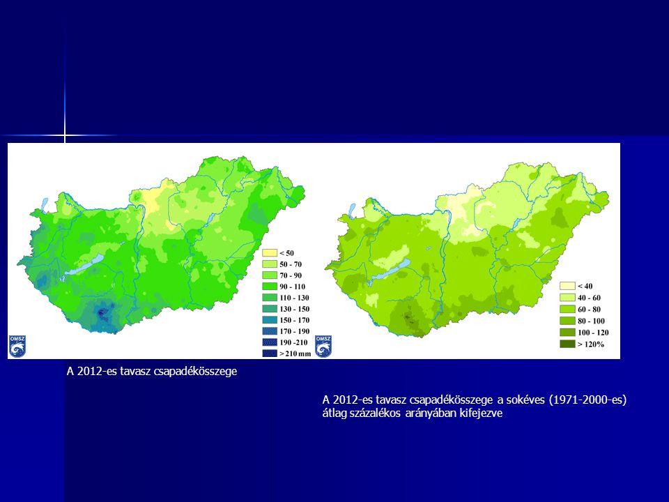 Az országos havi és az évszakos csapadékösszeg a sokévi (1971- 2000-es) átlag százalékos arányában kifejezve: tél, tavasz és nyár (interpolált adatok alapján)