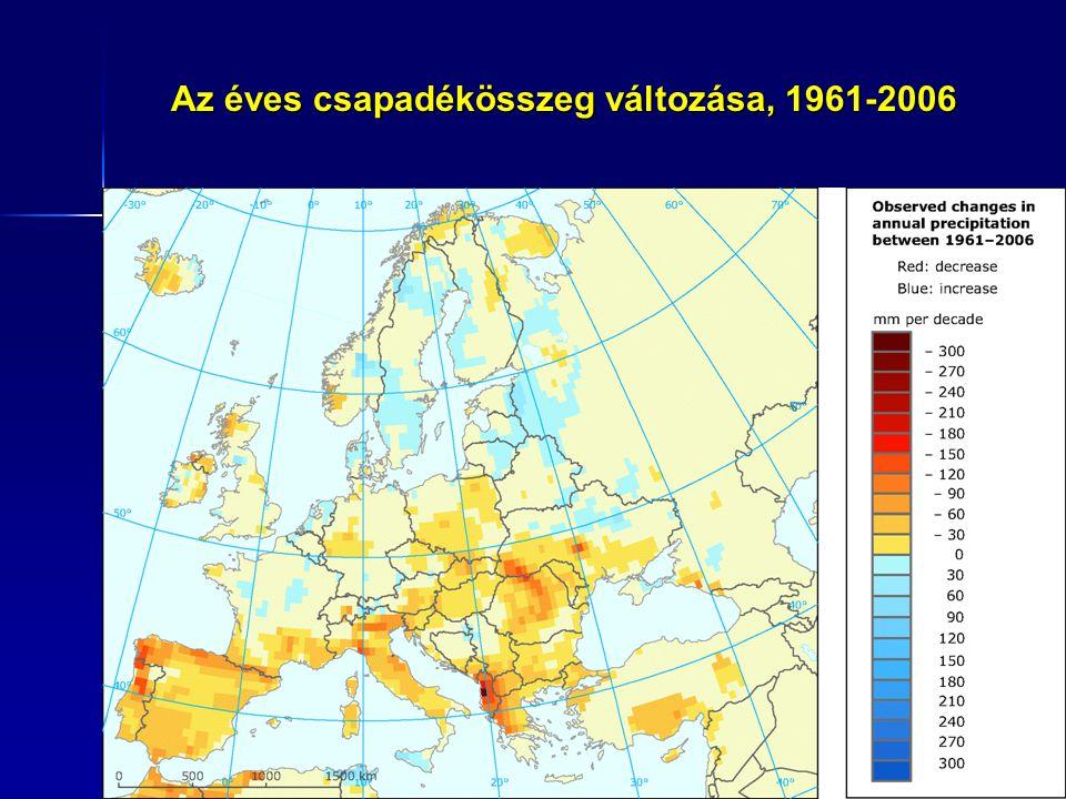 Az intenzív csapadékok hozzájárulásának változása a teljes csapadékösszegben, 1961-2006