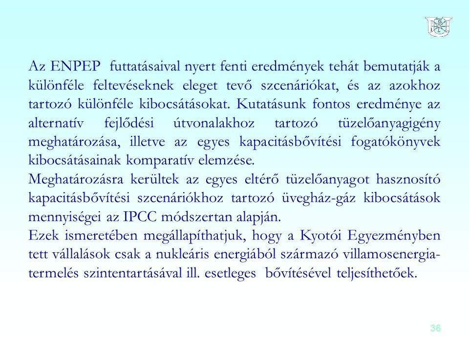 36 Az ENPEP futtatásaival nyert fenti eredmények tehát bemutatják a különféle feltevéseknek eleget tevő szcenáriókat, és az azokhoz tartozó különféle