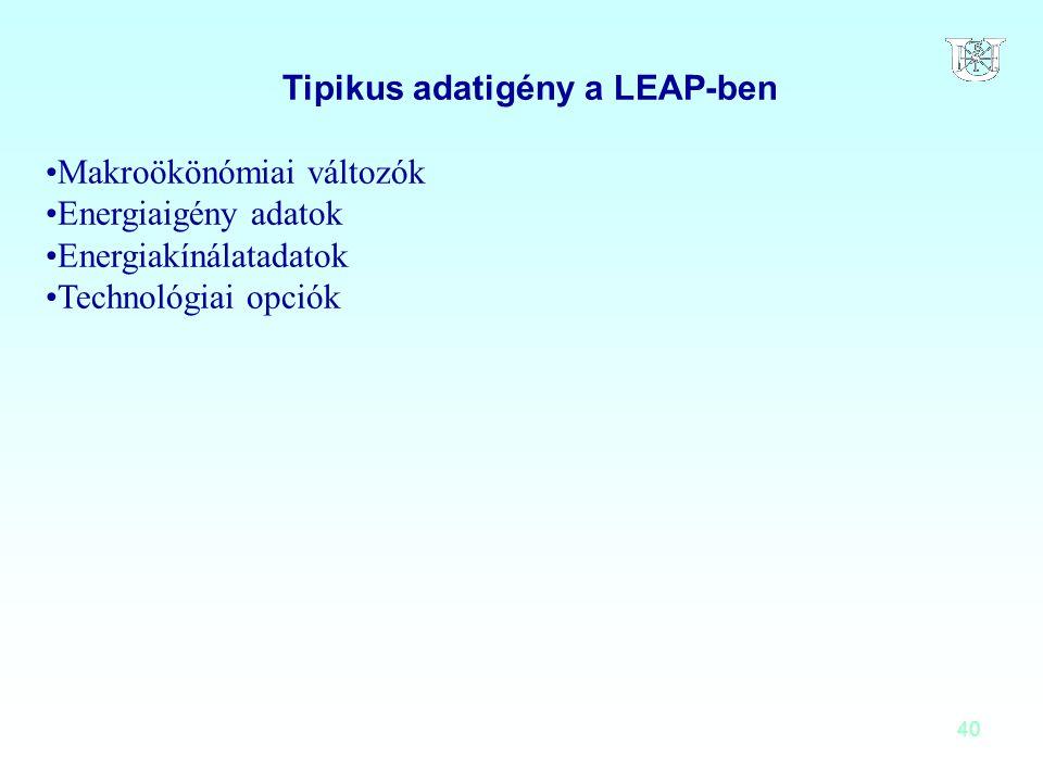 40 Tipikus adatigény a LEAP-ben Makroökönómiai változók Energiaigény adatok Energiakínálatadatok Technológiai opciók