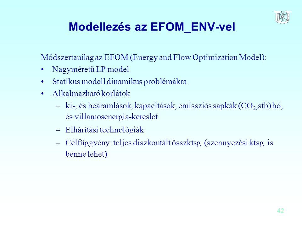 42 Modellezés az EFOM_ENV-vel Módszertanilag az EFOM (Energy and Flow Optimization Model): Nagyméretű LP model Statikus modell dinamikus problémákra A