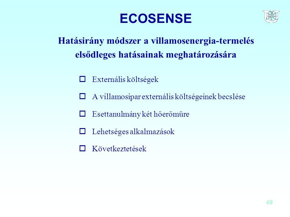 49 ECOSENSE Hatásirány módszer a villamosenergia-termelés elsődleges hatásainak meghatározására oExternális költségek oA villamosipar externális költs