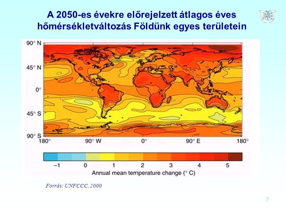 7 A 2050-es évekre előrejelzett átlagos éves hőmérsékletváltozás Földünk egyes területein Forrás: UNFCCC, 2000