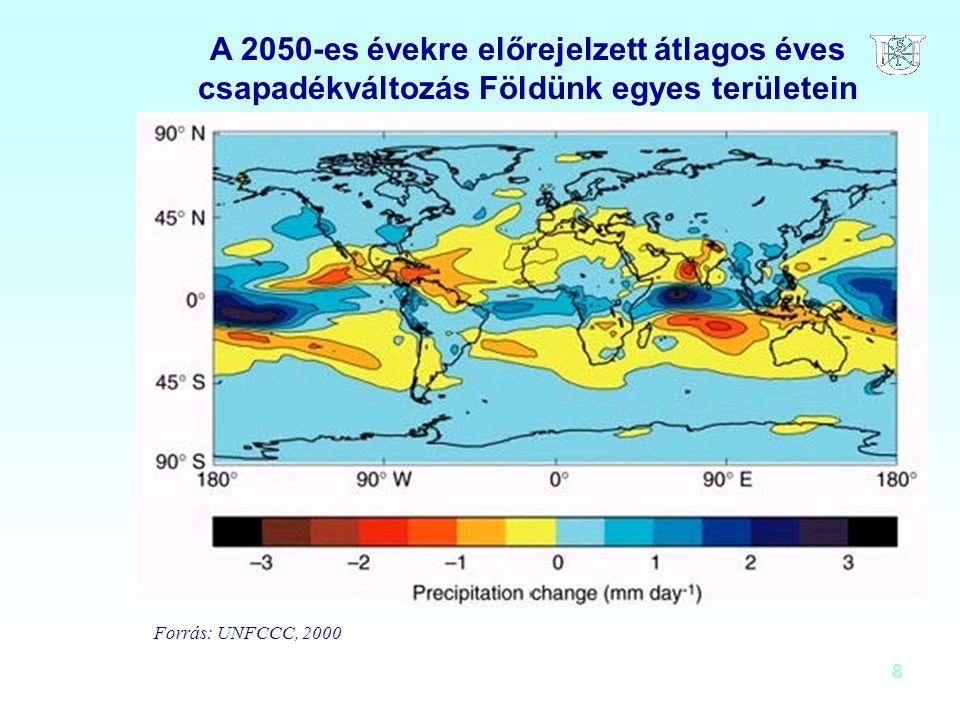 8 A 2050-es évekre előrejelzett átlagos éves csapadékváltozás Földünk egyes területein Forrás: UNFCCC, 2000