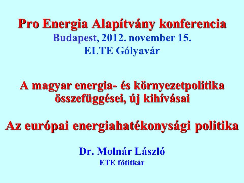 Pro Energia Alapítvány konferencia Pro Energia Alapítvány konferencia Budapest, 2012. november 15. ELTE Gólyavár A magyar energia- és környezetpolitik