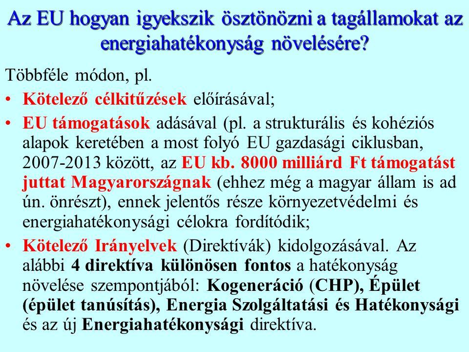 Az EU hogyan igyekszik ösztönözni a tagállamokat az energiahatékonyság növelésére? Többféle módon, pl. Kötelező célkitűzések előírásával; EU támogatás