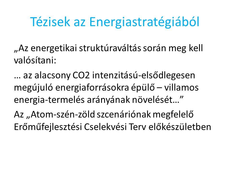 """Tézisek az Energiastratégiából """"Az energetikai struktúraváltás során meg kell valósítani: … az alacsony CO2 intenzitású-elsődlegesen megújuló energiaforrásokra épülő – villamos energia-termelés arányának növelését… Az """"Atom-szén-zöld szcenáriónak megfelelő Erőműfejlesztési Cselekvési Terv előkészületben"""