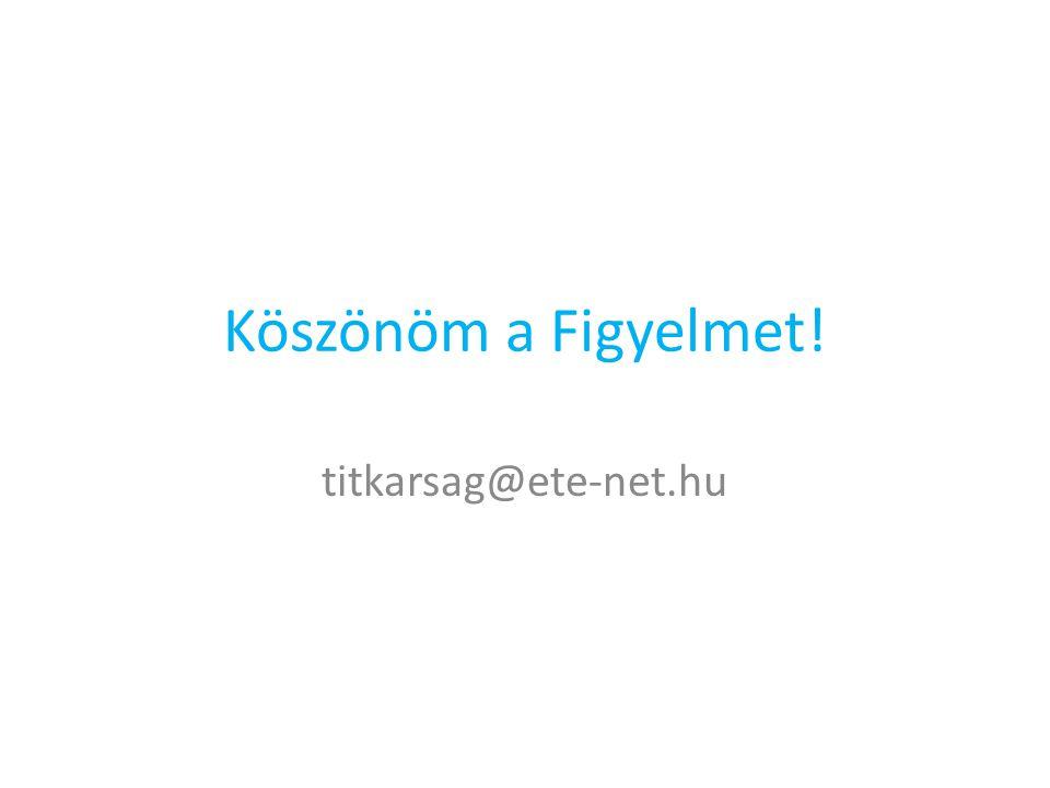 Köszönöm a Figyelmet! titkarsag@ete-net.hu