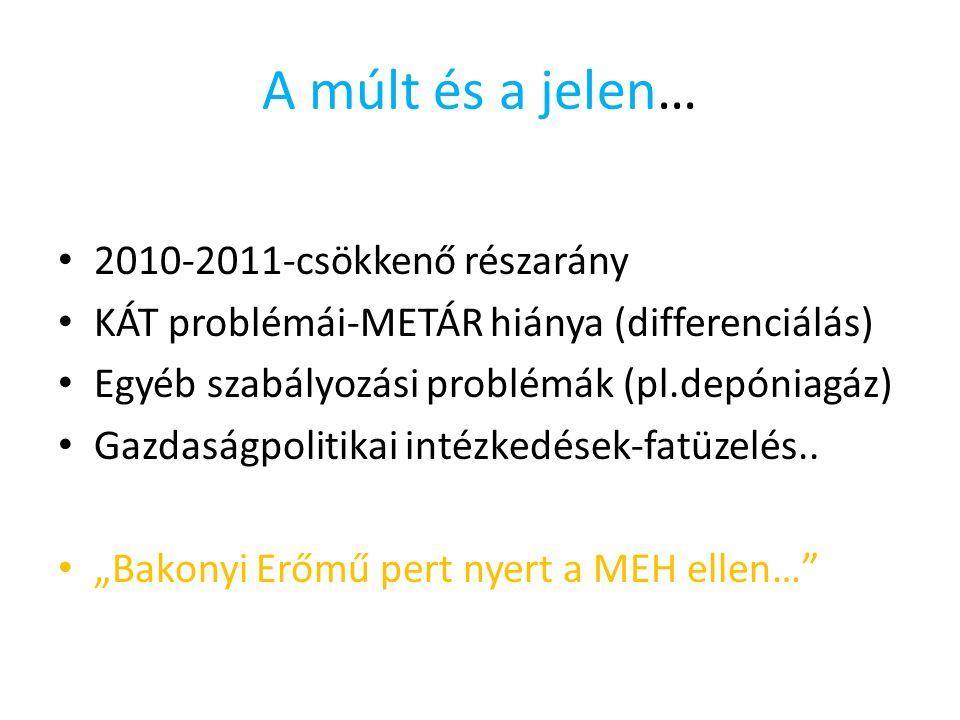 A múlt és a jelen… 2010-2011-csökkenő részarány KÁT problémái-METÁR hiánya (differenciálás) Egyéb szabályozási problémák (pl.depóniagáz) Gazdaságpolitikai intézkedések-fatüzelés..