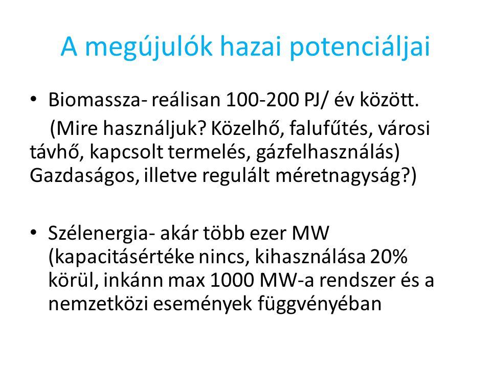 A megújulók hazai potenciáljai Biomassza- reálisan 100-200 PJ/ év között.