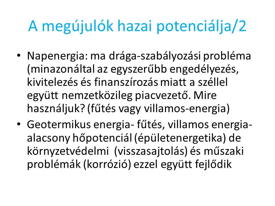 A megújulók hazai potenciálja/2 Napenergia: ma drága-szabályozási probléma (minazonáltal az egyszerűbb engedélyezés, kivitelezés és finanszírozás miatt a széllel együtt nemzetközileg piacvezető.