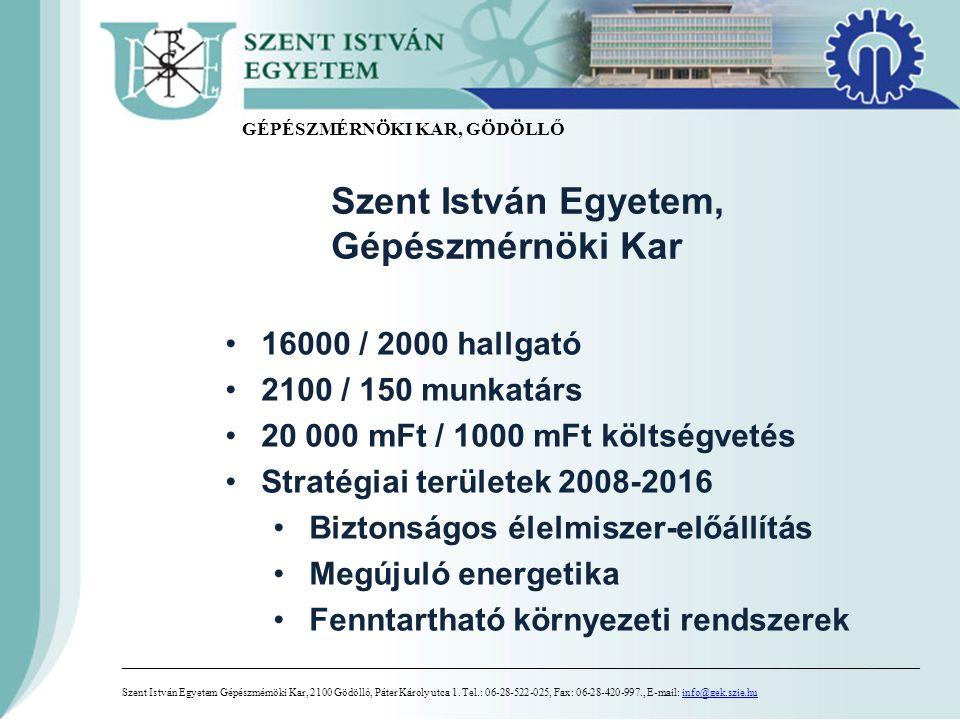 Szent István Egyetem Gépészmérnöki Kar, 2100 Gödöllő, Páter Károly utca 1.