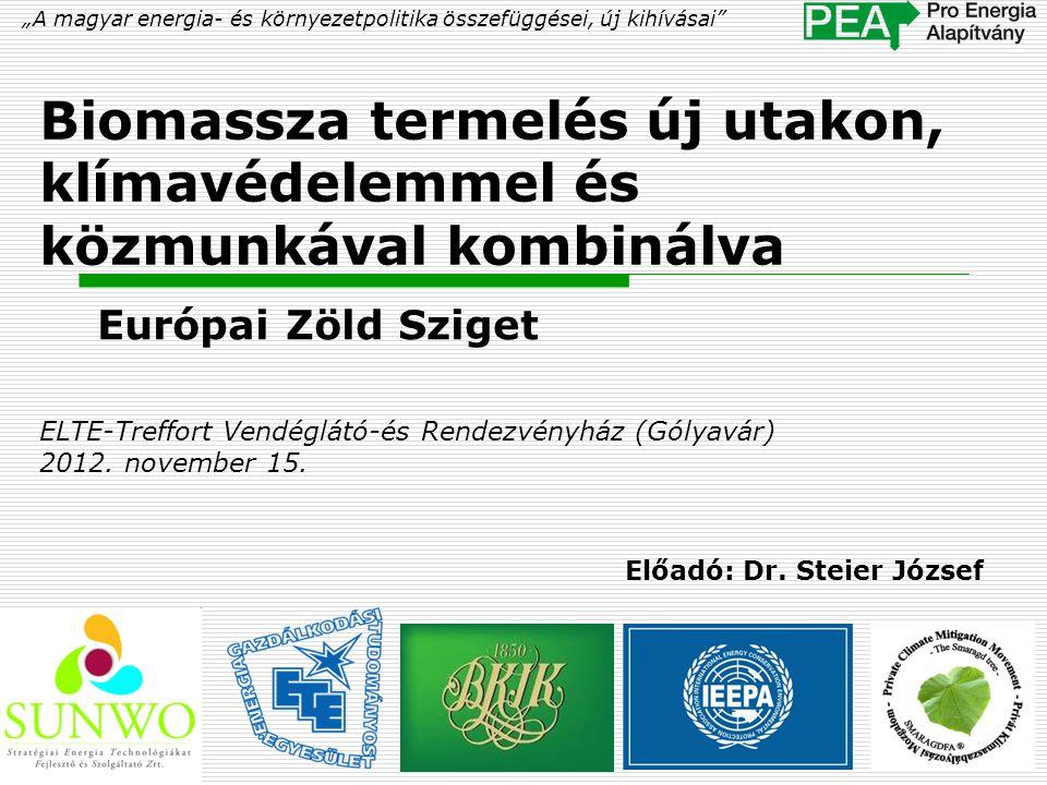 """Biomassza termelés új utakon, klímavédelemmel és közmunkával kombinálva Európai Zöld Sziget """"A magyar energia- és környezetpolitika összefüggései, új"""