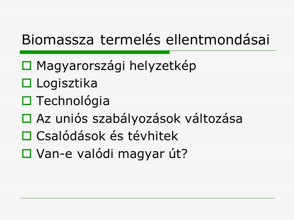 Biomassza termelés ellentmondásai  Magyarországi helyzetkép  Logisztika  Technológia  Az uniós szabályozások változása  Csalódások és tévhitek 