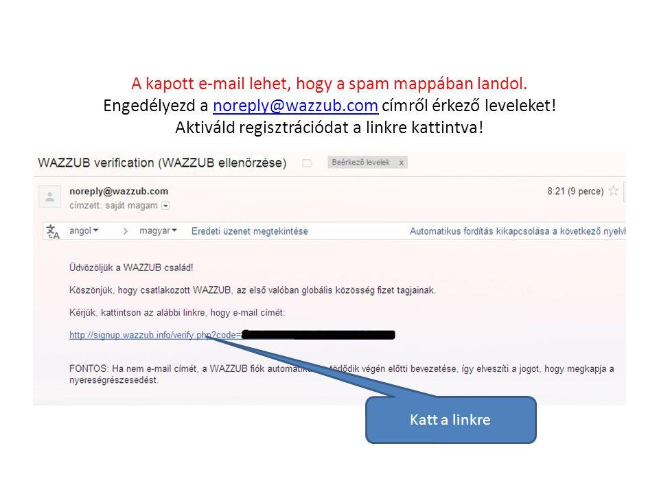 A kapott e-mail lehet, hogy a spam mappában landol.