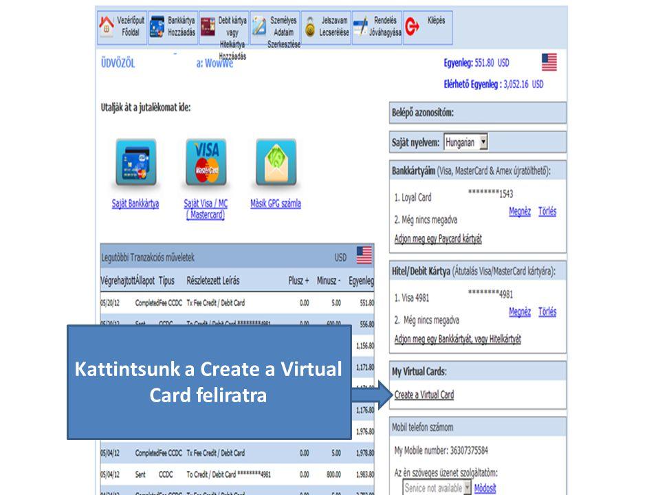 Kattintsunk a Create a Virtual Card feliratra