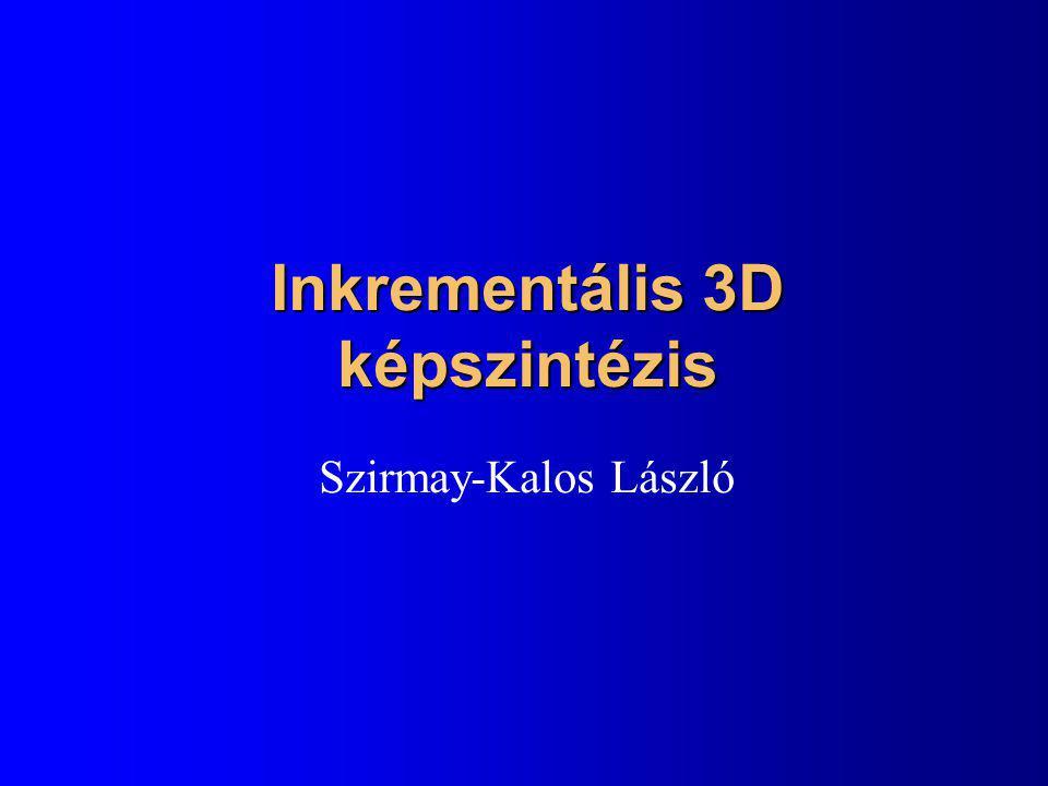 Kvaterniók l Komplex számok általánosítása l q = [s,x,y,z] = [s,w] = s+xi+yj+zk l q 1 +q 2 = [s 1 +s 2, x 1 +x 2, y 1 +y 2, z 1 +z 2 ] l aq = [as,ax,ay,az] l |q| =  s 2 +x 2 +y 2 +z 2 l Szorzás: –i 2 = j 2 = k 2 = ijk = -1, ij=k, ji=-k, jk=i, kj=-i, ki=j, ik=-j Szorzás asszociatív, de nem kommutatív, Összeadásra disztributív –Van egységelem: [1,0,0,0] –Van inverz, konjugált/absnégyzet mint a komplexnél: q -1 = [s,-w]/|q| 2, q -1  q = q  q -1 =[1,0,0,0]