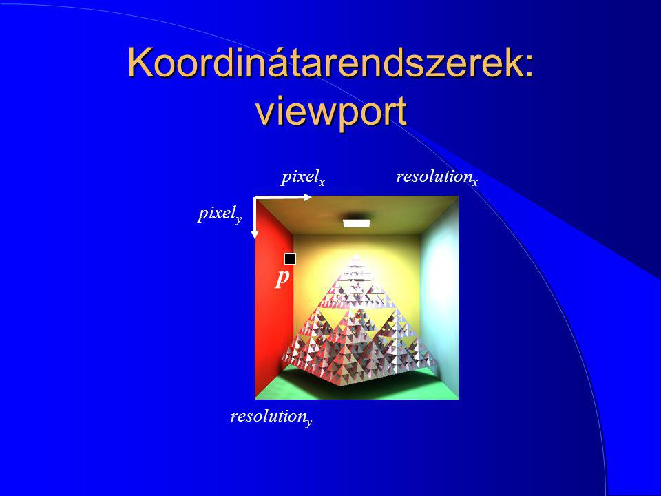 Koordinátarendszerek: viewport pixel x pixel y resolution x resolution y p