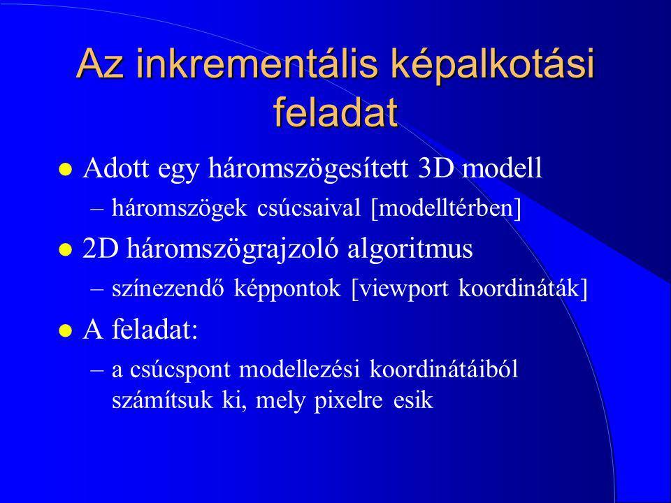 Projekció (statikus interpretáció) z y képernyőkoordináta: (y/z, 1) homogén koordinátákkal (y/z, 1, 1) vagy (y, z, z) 1 1