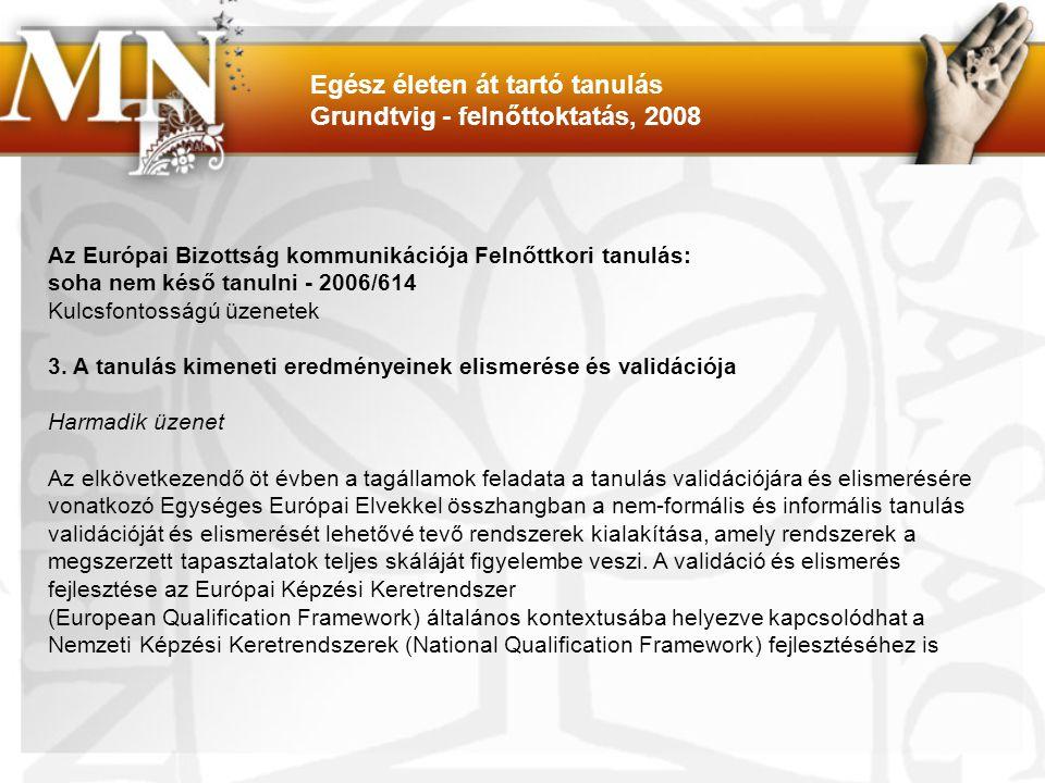 Az Európai Bizottság kommunikációja Felnőttkori tanulás: soha nem késő tanulni - 2006/614 Kulcsfontosságú üzenetek 3.