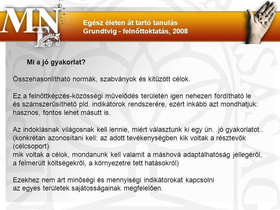 PETETE http://www.pefete.eu/index.php?section=1 NILE ( newtwork on intercultural learning in Europe) http://www.intercultural-learning.net/ Egész életen át tartó tanulás Grundtvig - felnőttoktatás, 2008
