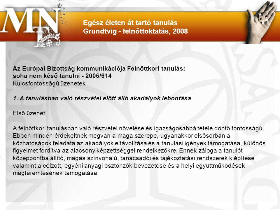 Egész életen át tartó tanulás Grundtvig - felnőttoktatás, 2008