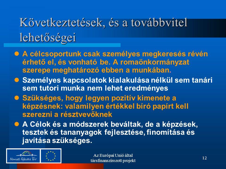 Az Európai Unió által társfinanszírozott projekt 12 Következtetések, és a továbbvitel lehetőségei A célcsoportunk csak személyes megkeresés révén érhető el, és vonható be.