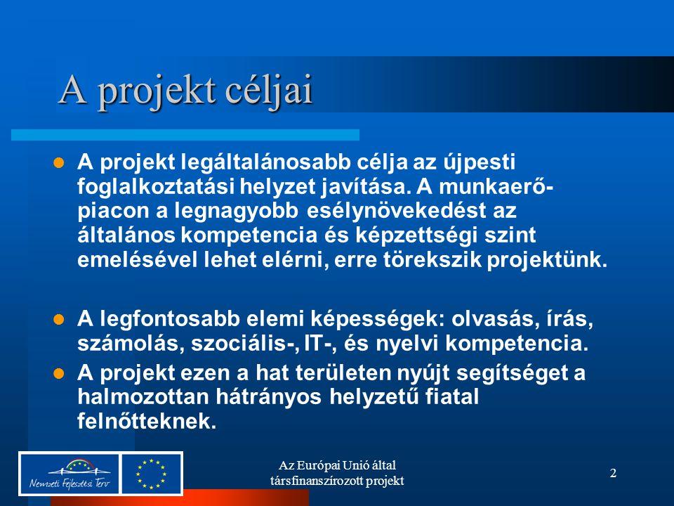 Az Európai Unió által társfinanszírozott projekt 2 A projekt céljai A projekt legáltalánosabb célja az újpesti foglalkoztatási helyzet javítása.