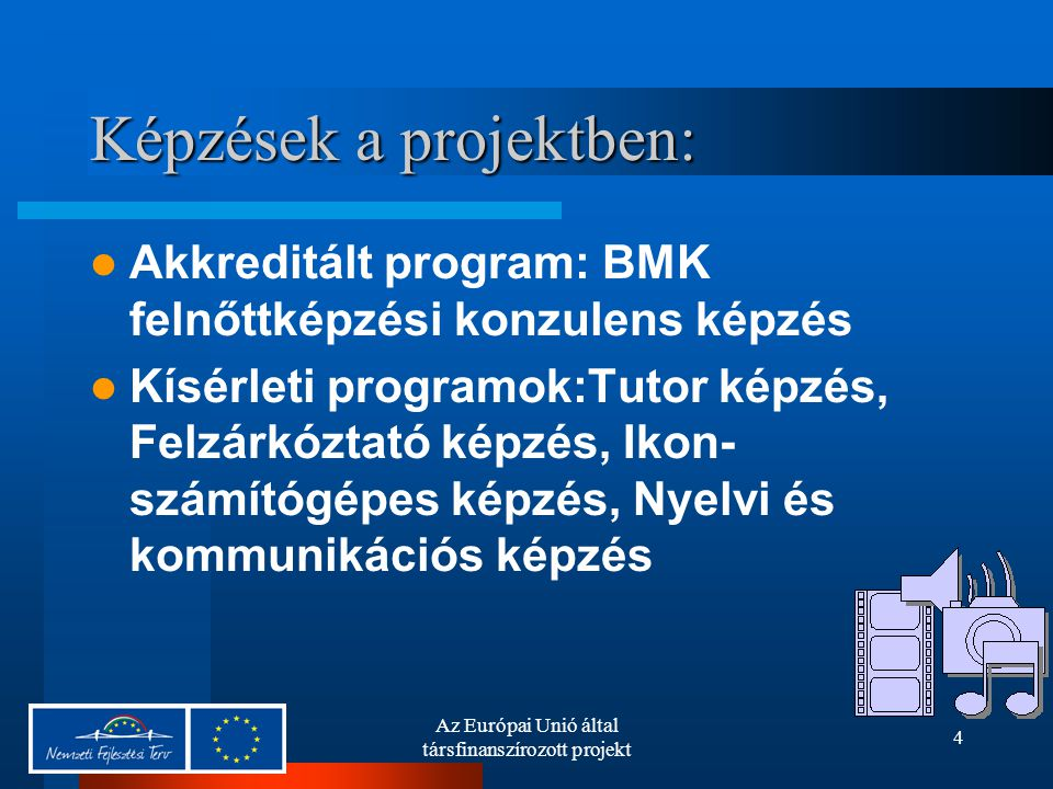 Az Európai Unió által társfinanszírozott projekt 4 Képzések a projektben: Akkreditált program: BMK felnőttképzési konzulens képzés Kísérleti programok