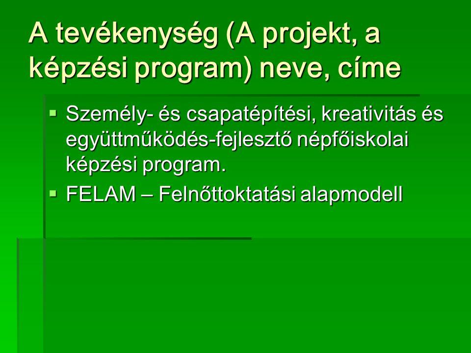 A tevékenység (A projekt, a képzési program) neve, címe  Személy- és csapatépítési, kreativitás és együttműködés-fejlesztő népfőiskolai képzési program.