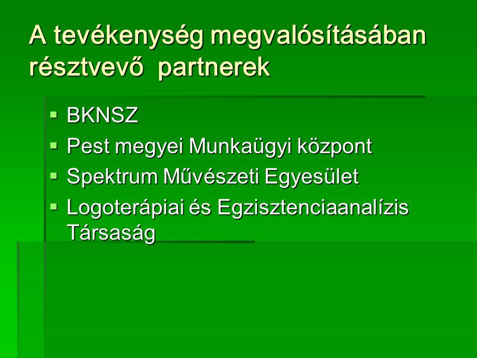 A tevékenység megvalósításában résztvevő partnerek  BKNSZ  Pest megyei Munkaügyi központ  Spektrum Művészeti Egyesület  Logoterápiai és Egzisztenciaanalízis Társaság