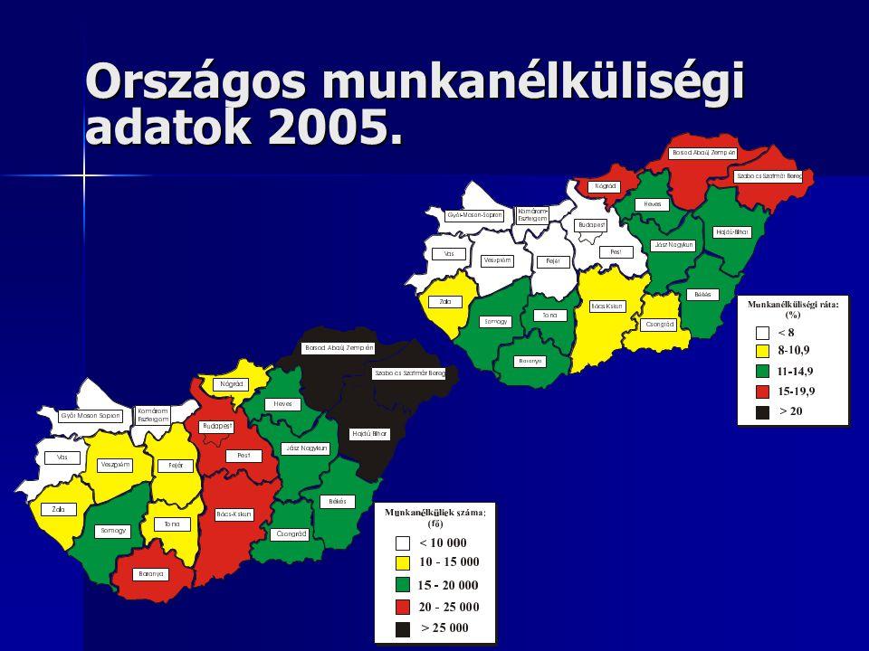 Országos munkanélküliségi adatok 2005.