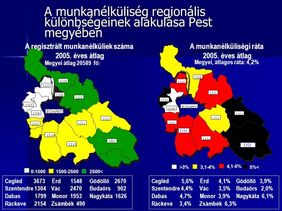 A munkanélküliség regionális különbségeinek alakulása Pest megyében Cegléd 3673 Érd 1548Gödöllő 2670 Szentendre 1304 Vác 2470Budaörs 902 Dabas 1799 Monor 1953Nagykáta 1626 Ráckeve 2154 Zsámbék 490 Cegléd 5,6% Érd 4,1%Gödöllő 3,9% Szentendre 4,4% Vác 3,5%Budaörs 2,0% Dabas 4,7% Monor 3,9%Nagykáta 6,1% Ráckeve 3,4% Zsámbék 6,3%