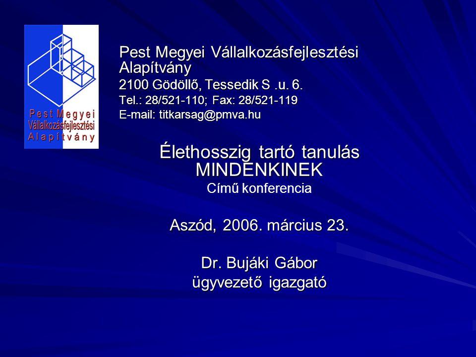 Pest Megyei Vállalkozásfejlesztési Alapítvány 2100 Gödöllő, Tessedik S.u.