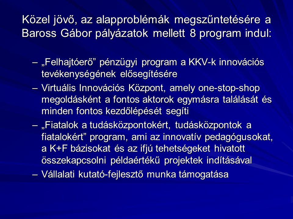 """Közel jövő, az alapproblémák megszűntetésére a Baross Gábor pályázatok mellett 8 program indul: –""""Felhajtóerő pénzügyi program a KKV-k innovációs tevékenységének elősegítésére –Virtuális Innovációs Központ, amely one-stop-shop megoldásként a fontos aktorok egymásra találását és minden fontos kezdőlépését segíti –""""Fiatalok a tudásközpontokért, tudásközpontok a fiatalokért program, ami az innovatív pedagógusokat, a K+F bázisokat és az ifjú tehetségeket hivatott összekapcsolni példaértékű projektek indításával –Vállalati kutató-fejlesztő munka támogatása"""
