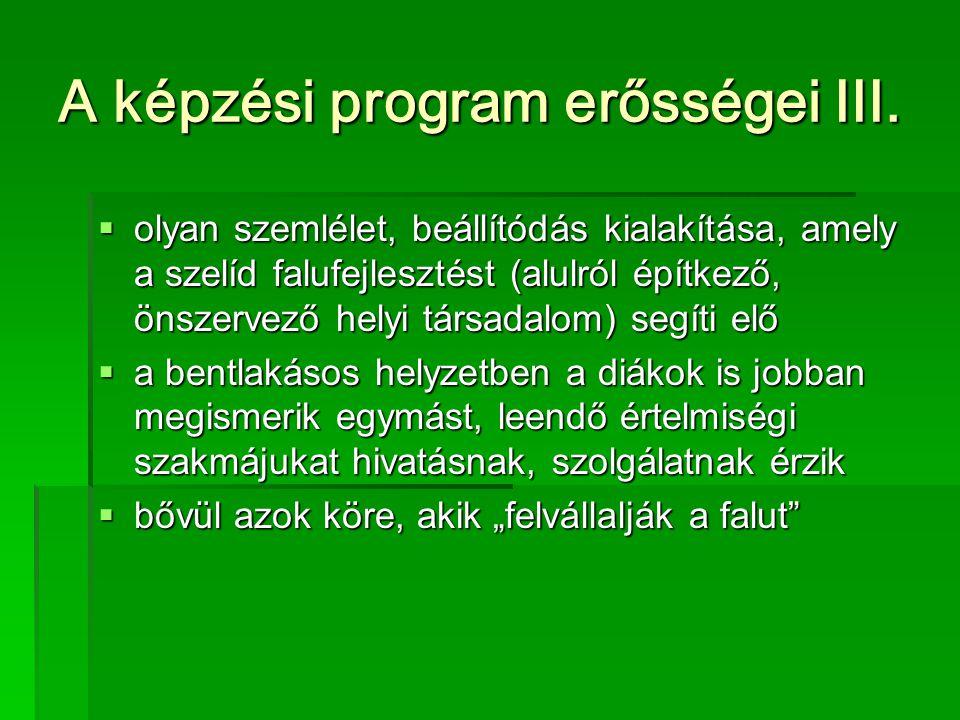 A képzési program erősségei III.