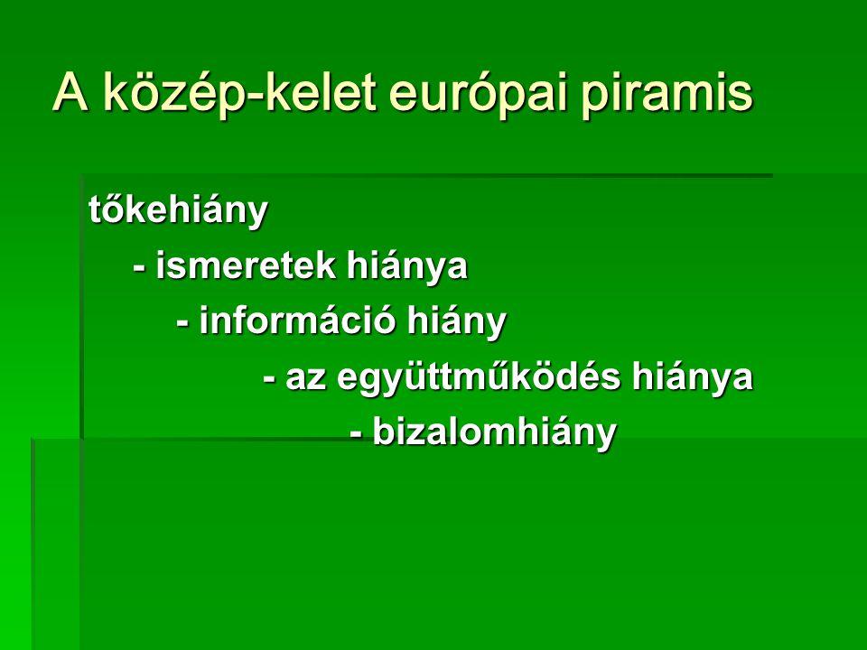 A közép-kelet európai piramis tőkehiány - ismeretek hiánya - információ hiány - az együttműködés hiánya - bizalomhiány