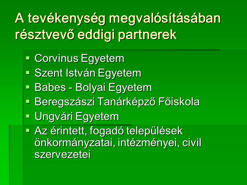 A tevékenység megvalósításában résztvevő eddigi partnerek  Corvinus Egyetem  Szent István Egyetem  Babes - Bolyai Egyetem  Beregszászi Tanárképző Főiskola  Ungvári Egyetem  Az érintett, fogadó települések önkormányzatai, intézményei, civil szervezetei