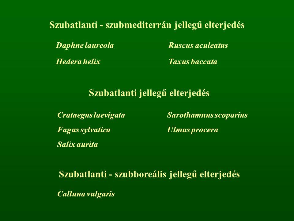 Szubatlanti - szubmediterrán jellegű elterjedés Daphne laureolaRuscus aculeatus Hedera helixTaxus baccata Szubatlanti jellegű elterjedés Crataegus lae