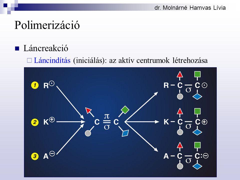 dr. Molnárné Hamvas Lívia Polimerizáció Láncreakció  Láncindítás (iniciálás): az aktív centrumok létrehozása