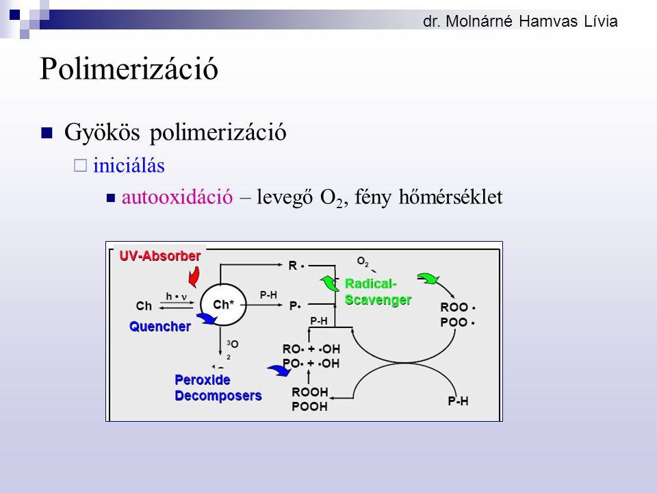 Polimerizáció Gyökös polimerizáció  iniciálás autooxidáció – levegő O 2, fény hőmérséklet