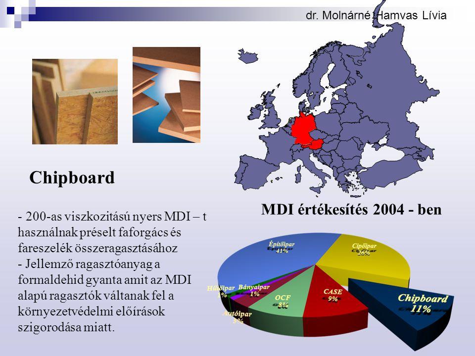dr. Molnárné Hamvas Lívia Chipboard - 200-as viszkozitású nyers MDI – t használnak préselt faforgács és fareszelék összeragasztásához - Jellemző ragas